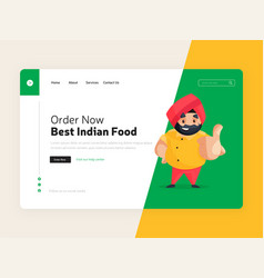 best indian food landing page vector image