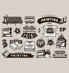 big collection of screen printing elements vector image