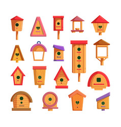 Birdhouse set for feeding and living bird isolated vector