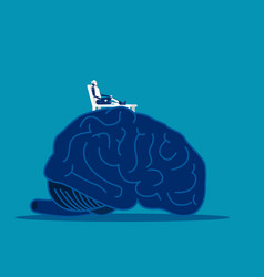 Brain relax robot relax on top large brain vector
