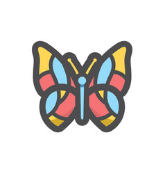 butterfly mosaic moth icon cartoon vector image