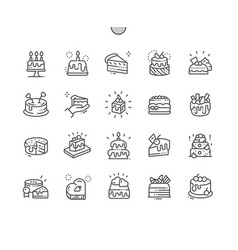 Cakes well-crafted pixel perfect thin line vector