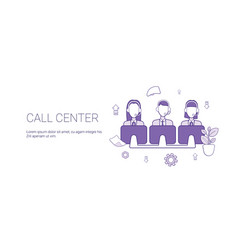 call center support service template web banner vector image