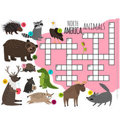 Cartoon north america animals kids crossword vector
