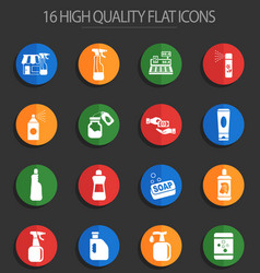 chemicals store 16 flat icons vector image