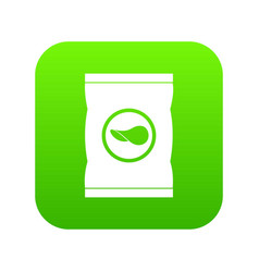 chips plastic bag icon digital green vector image