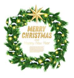 christmas wreath with green fir branch light vector image
