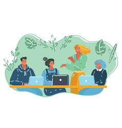 colleagues at an office meeting vector image
