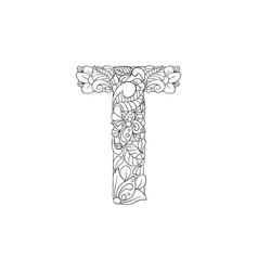 Coloring book ornamental alphabet letter t font vector