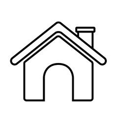 Contour roof house and chimney vector
