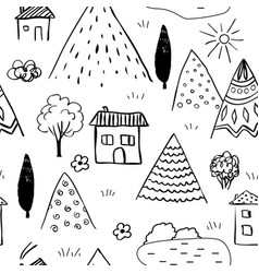 Country landscape seamless pattern caucasus vector