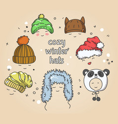 Cozy winter hats vector