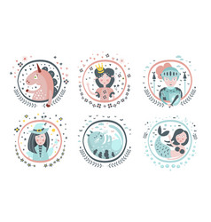 cute childish fairy tale cartoon characters set vector image