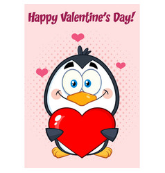 Cute penguin holding valentine love heart vector