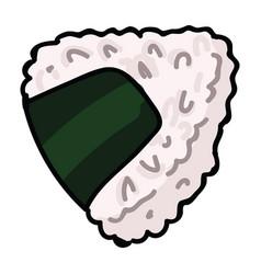 Cute rice ball onigiri snack hand vector