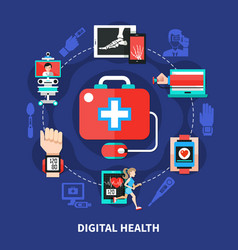 digital health flat symbols poster vector image