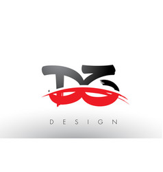 Dz d z brush logo letters with red and black vector