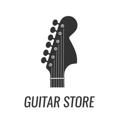 electric guitar headstock silhouette isolated on vector image