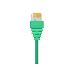 Ethernet connector with green cable registered vector