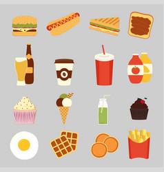 Fast food set cute vector