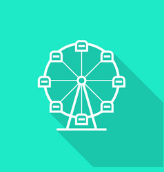 Ferris wheel icon with long shadow vector