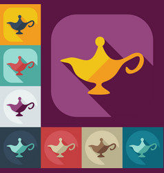 Flat modern design with shadow icons genie lamp vector