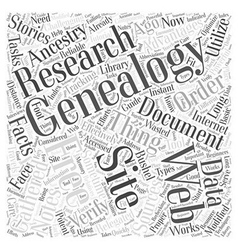 free genealogy web site Word Cloud Concept vector image