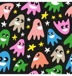 Funny ghosts - seamless background vector