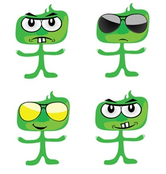 funny green people art vector image