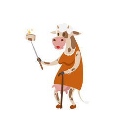 Funny picture cow photographer mama person take vector
