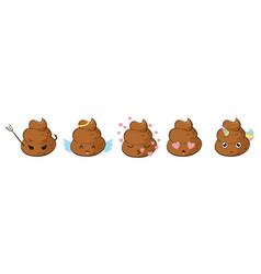 Funny poop emoji set vector