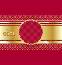 gift voucher in gold and red template design vector image