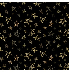 Golden hand-drawn stars on night sky seamless vector image