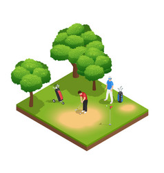 golf isometric top view composition vector image