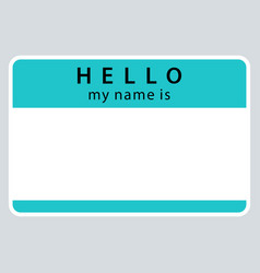 Green name tag my name is vector