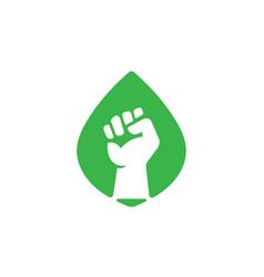 green revolution eco fist symbol vector image
