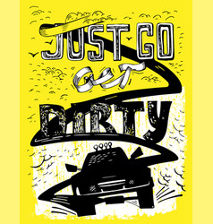 Hand drawn offroad lettering vector