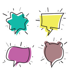 hand drawn thought and speech bubbles02 vector image