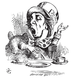 Hatter engaging in rhetoric Alice in Wonderland vector image vector image