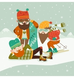 Hipsters with ski and snowboard vector