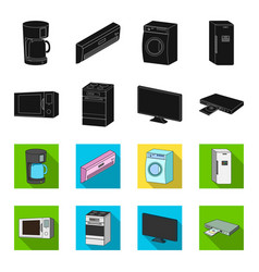 Home appliances and equipment blackflet icons in vector