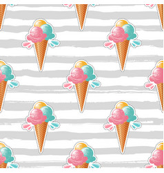 Ice cream pattern trendy striped background 80s vector