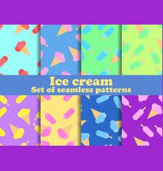 Ice cream set seamless pattern multi-colored ice vector