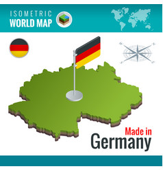isometric map and flag germany or vector image