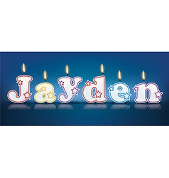 JAYDEN written with burning candles vector