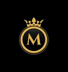 letter m royal crown luxury logo design vector image