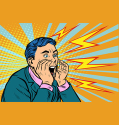 man screaming calling pop art vector image