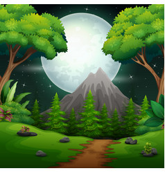 night time forest landscape with a full moon and a vector image