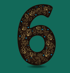 Number six with yellow floral decor vector