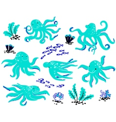 Octopus set vector image